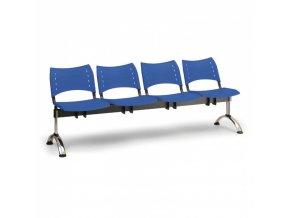 Plastová lavice do čekáren VISIO, 4-sedák, modrá, chromované nohy