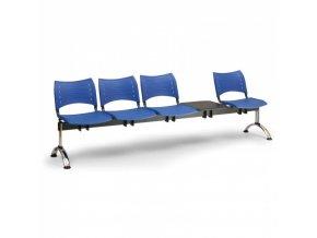 Plastová lavice do čekáren VISIO, 4-sedák, se stolkem, modrá, chromované nohy