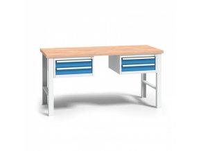 Dílenský stůl WL se dřevěnou pracovní deskou - výškově stavitlené nohy, délka 2000 mm