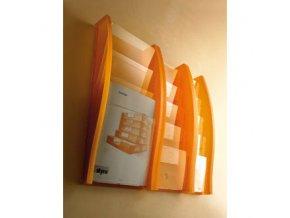 Nástěnný plastový zásobník na prospekty, 4x A4, oranžový