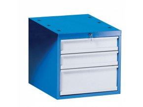 Závěsný dílenský box na nářadí k pracovním stolům GÜDE, 3 zásuvky, zámek, 510 x 592 x 470 mm, modrá / šedá