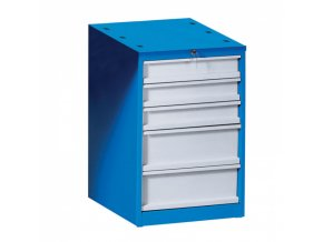 Zásuvkový dílenský box na nářadí k pracovnímu stolu GÜDE, 5 zásuvek, 510 x 592 x 810 mm, modrá / šedá