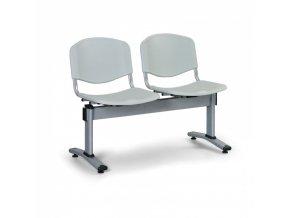 Plastová lavice do čekáren LIVORNO, 2 místa, šedá