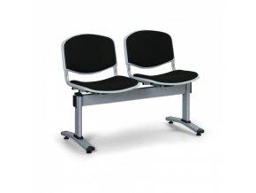 Čalouněné lavice do čekáren LIVORNO, 2-sedák, černá