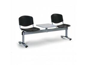 Plastová lavice do čekáren LIVORNO, 2 místa, se stolkem, černá