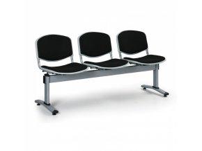 Čalouněné lavice do čekáren LIVORNO, 3-sedák, černá