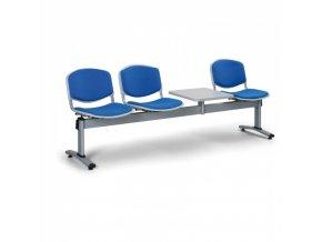 Čalouněné lavice do čekáren LIVORNO, 3-sedák, se stolkem, modrá