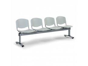 Plastová lavice do čekáren LIVORNO, 4 místa, šedá