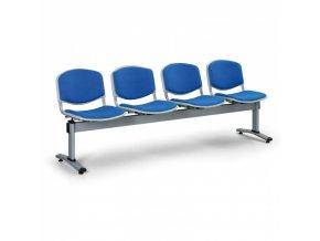 Čalouněné lavice do čekáren LIVORNO, 4-sedák, modrá