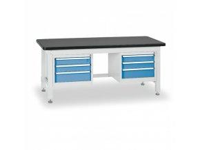 Pracovní stůl do dílny BL se 2 závěsnými boxy na nářadí, MDF + PVC deska, 6 zásuvek, 2100 x 750 x 800 mm