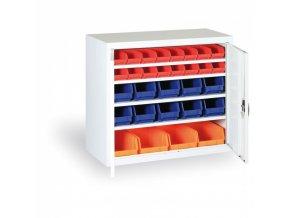 Skříň s plastovými boxy 800 x 920 x 400 mm, 24xA/6xB/4xC, šedá/modré dveře