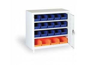 Skříň s plastovými boxy 800 x 920 x 400 mm, 18xB/4xC, šedá/modré dveře