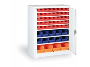 Skříň s plastovými boxy 1150x920x400 mm, 32xA/12xB/4xC, šedá/modré dveře