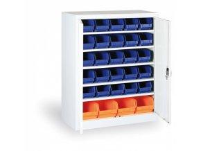 Skříň s plastovými boxy 1150x920x400 mm, 30xB/4xC, šedá/modré dveře