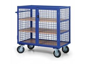 Uzamykatelný skříňový vozík s drátěnými stěnami, 3 police
