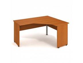 Rohový kancelářský psací stůl UNI, dřevěné nohy, 1600 x 1200 mm, levý, třešeň