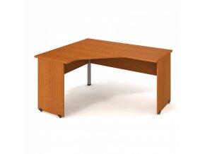 Rohový kancelářský psací stůl UNI, dřevěné nohy, 1600 x 1200 mm, pravý, třešeň