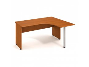 Rohový stůl UNI, kovová noha, hloubka 1200 mm, levý, buk