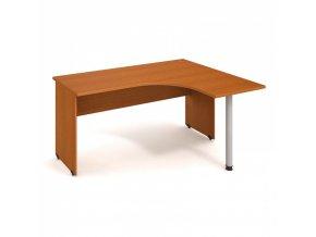 Rohový stůl UNI, kovová noha, hloubka 1200 mm, levý, třešeň