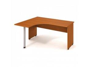 Rohový stůl UNI, kovová noha, hloubka 1200 mm, pravý, třešeň