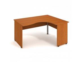 Rohový ergonomický kancelářský psací stůl UNI, dřevěné nohy, 1600 x 1200 mm, levý, třešeň