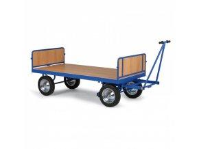 Plošinový vozík s ojí, bočnice vepředu/vzadu, dušová kola