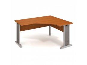 Rohový kancelářský psací stůl SELECT, kovové nohy, 1600 x 1200 mm, levý, třešeň