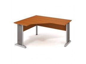Rohový kancelářský psací stůl SELECT, kovové nohy, 1600 x 1200 mm, pravý, třešeň