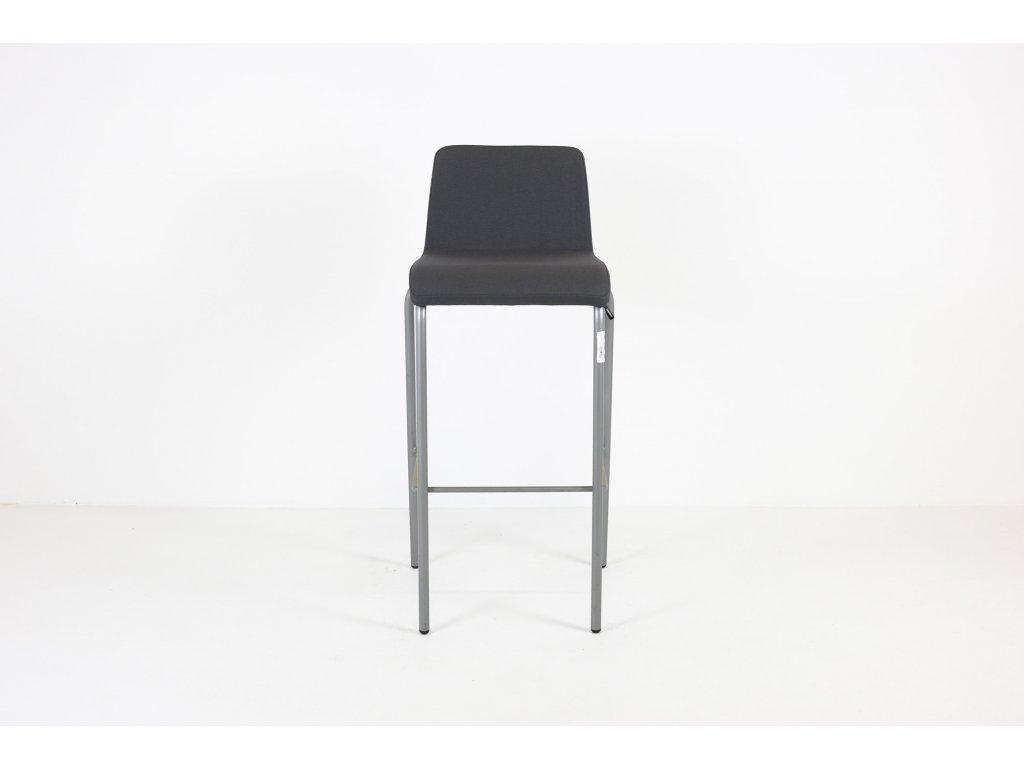 Židle barová, Steelcase, polstrovaná, šedá/šedý rám
