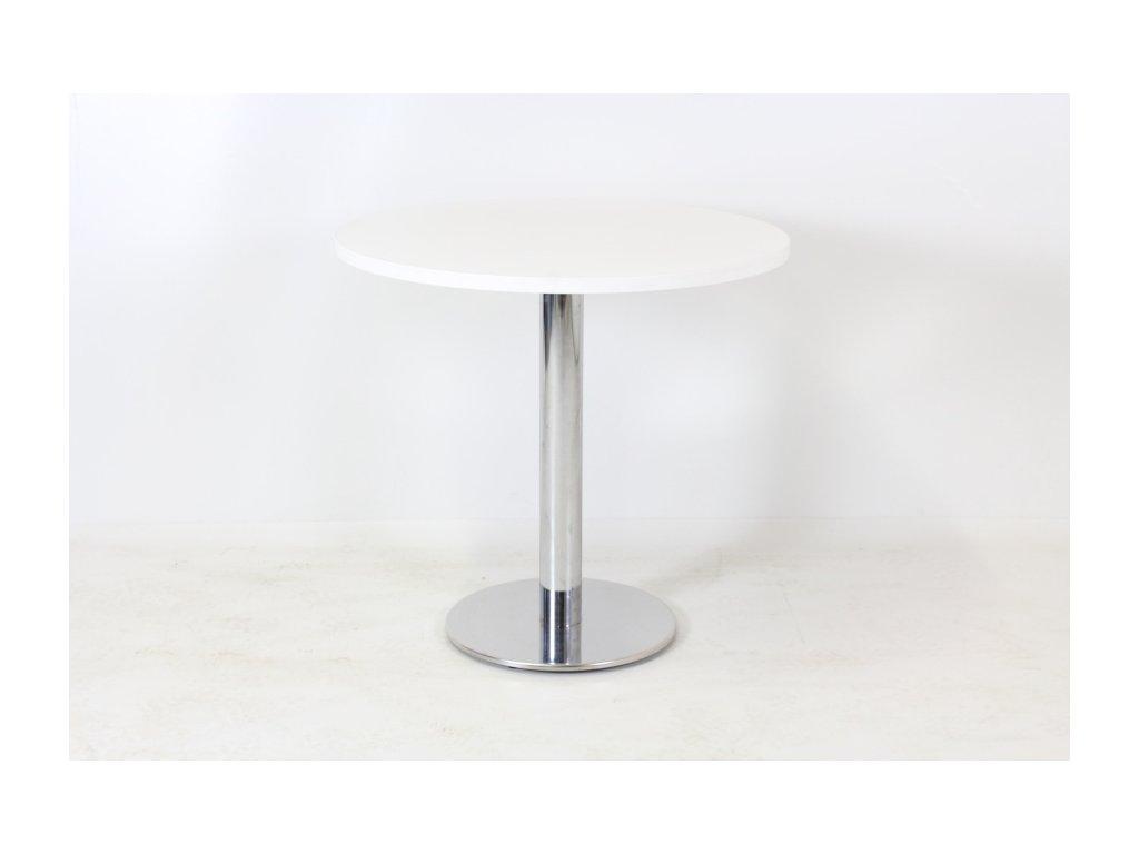 Stůl konf. kulatý 76x80 chrom/bílý