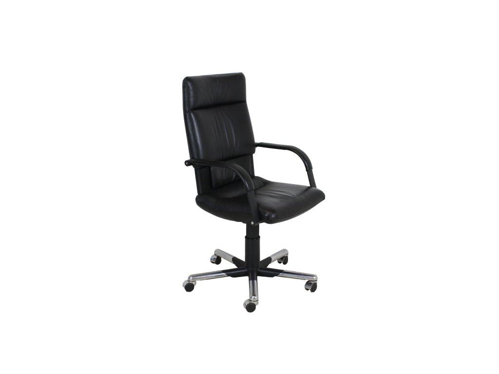 Židle kancelářská, Vitra Imago Mario Bellini, černá, kožené na kolečkách