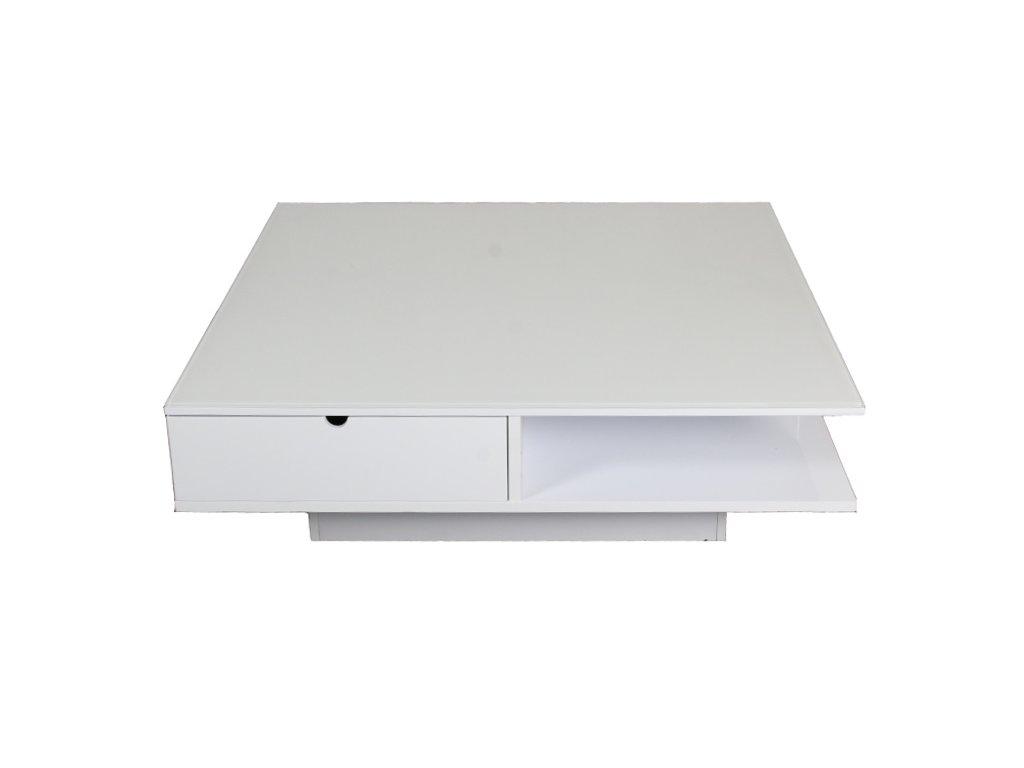 Stůl konferenční 33x105x105 bílý, 2zásuvky