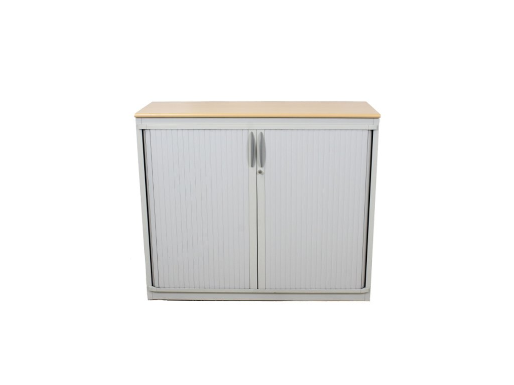 Skříň kancl. Steelcase 102x120x45, javor, žaluzie, závěsné desky