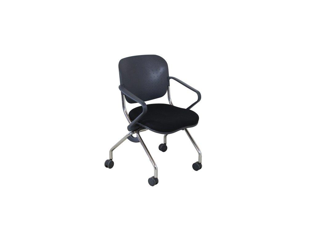 Židle konferenční kolečková černá, sklopný sedák
