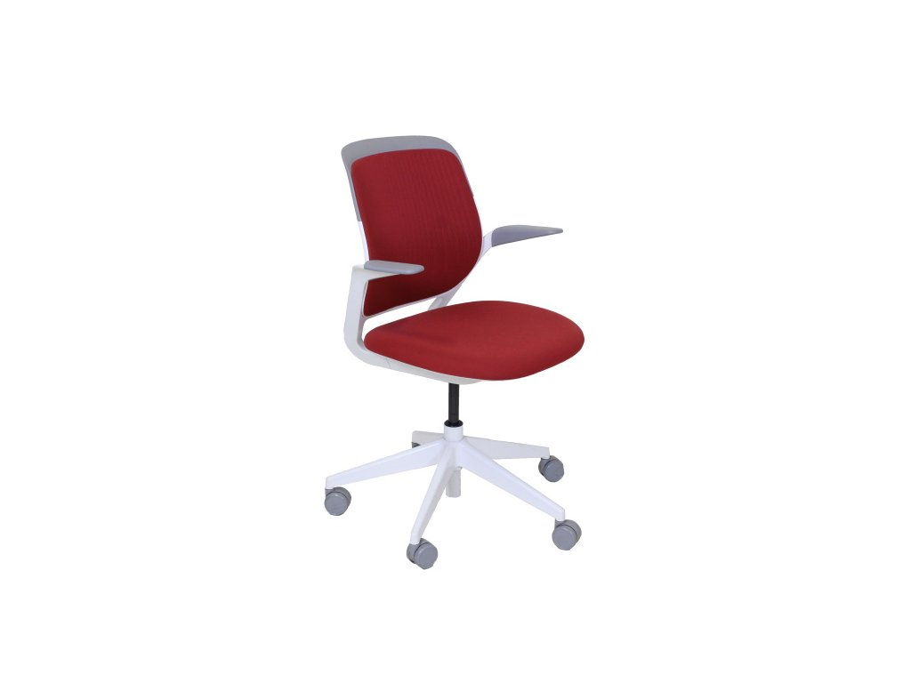 Židle konferenční Steelcase kolečková, červeno bílá