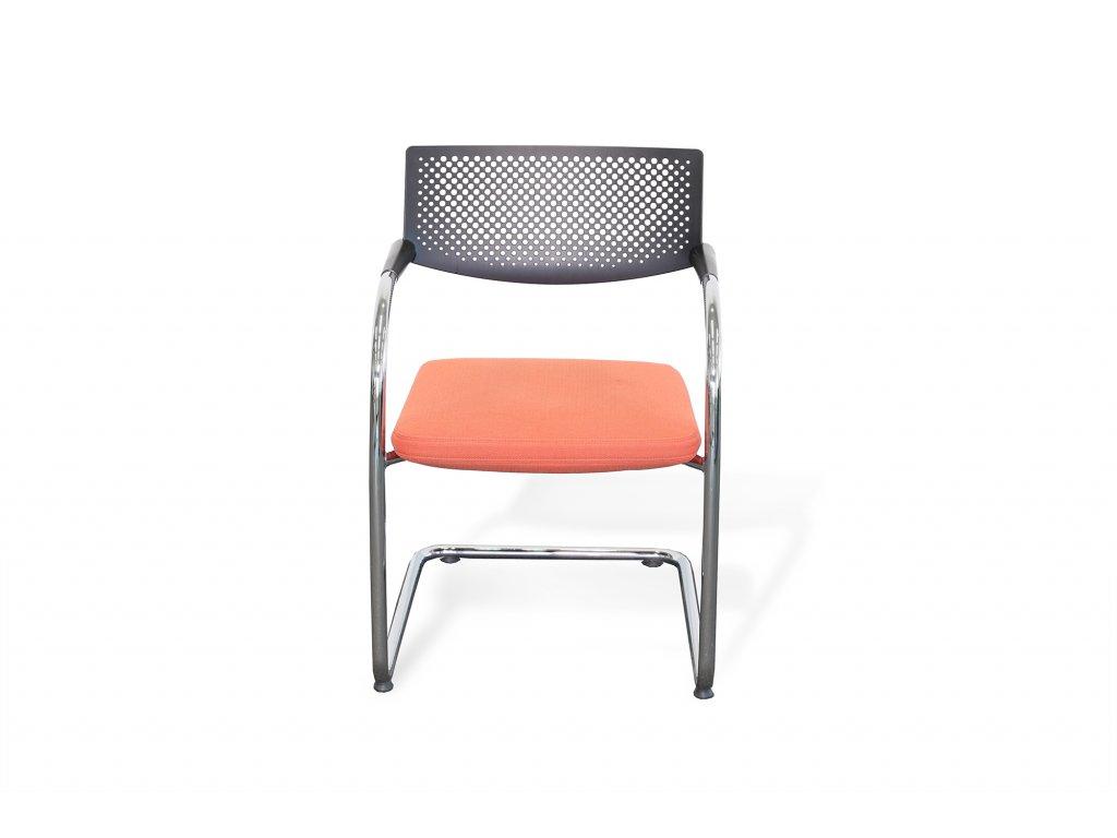 Konferenční židle Vitra Visavis2, červená látka/plat záda