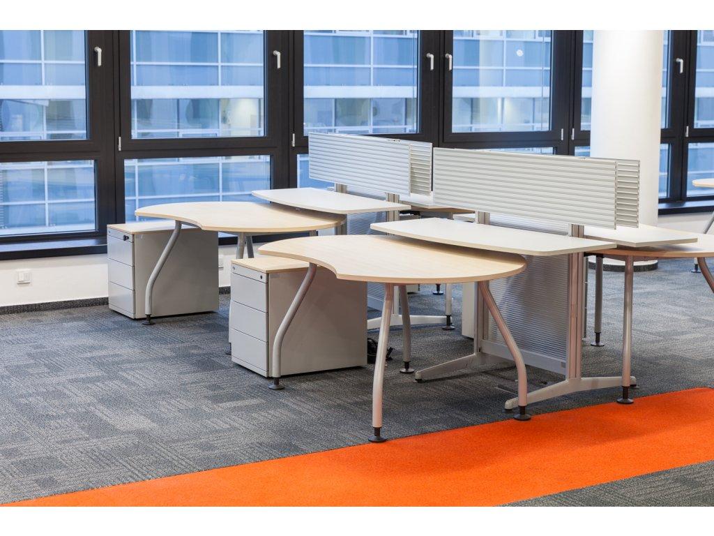 Kacelářský stůl Steelcase Frisco, javor, dvojpracoviště s paravanem