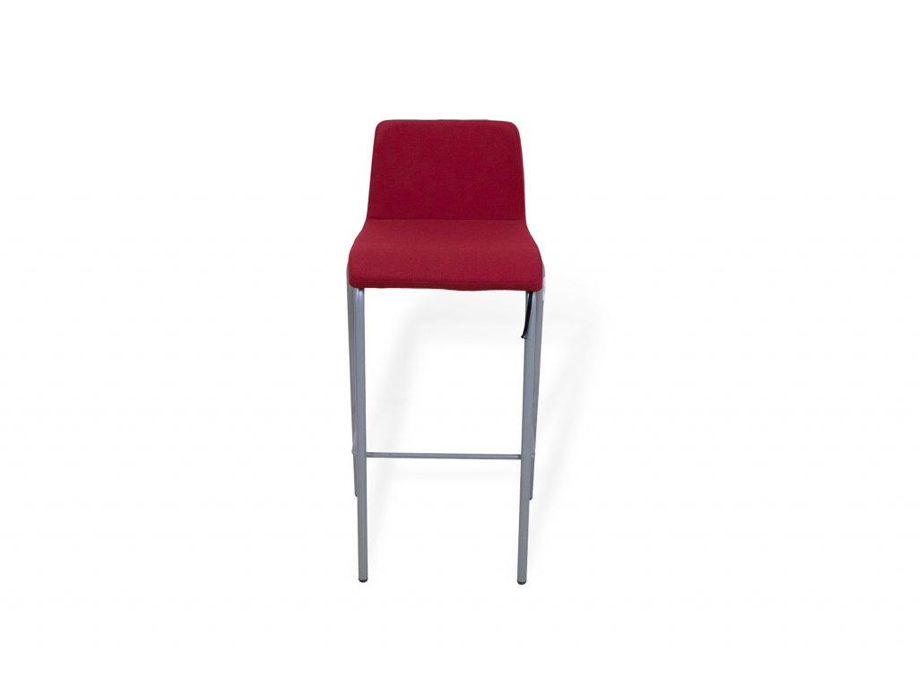 Židle barová, Steelcase, polstrovaná, červená/šedý rám