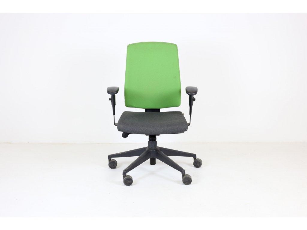 Židle kancelářská, ProfiM šedý sedák zelená opěrka černé područky
