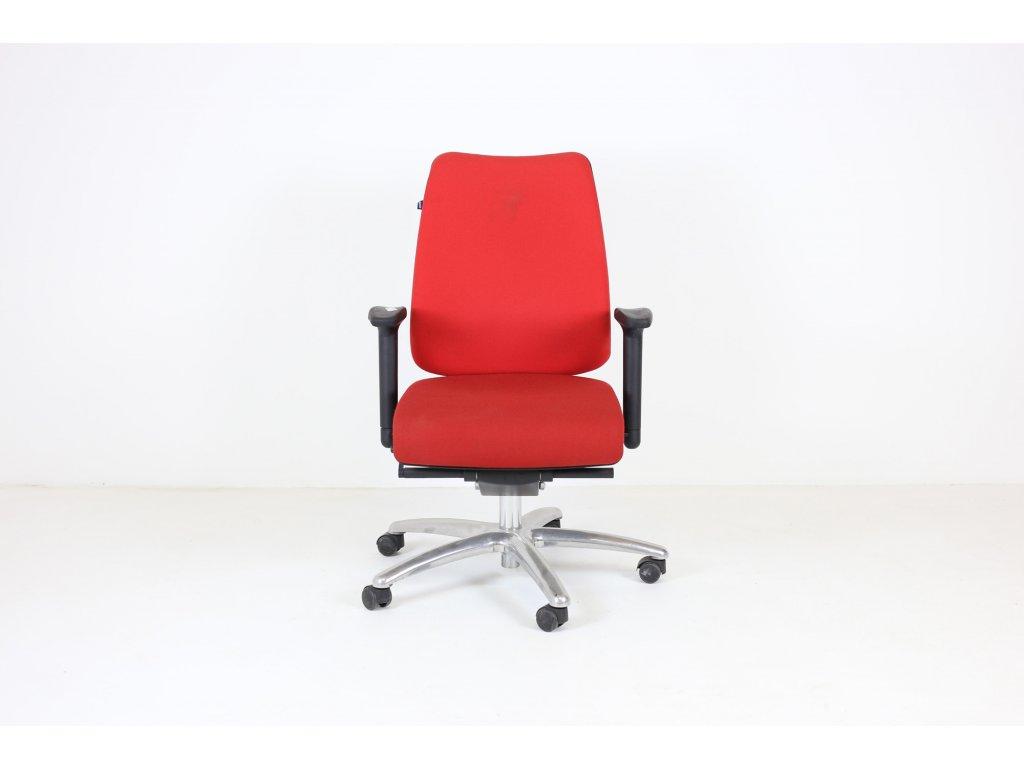 Zidle kancelářská, Martela, červená, chromová podnož, područky