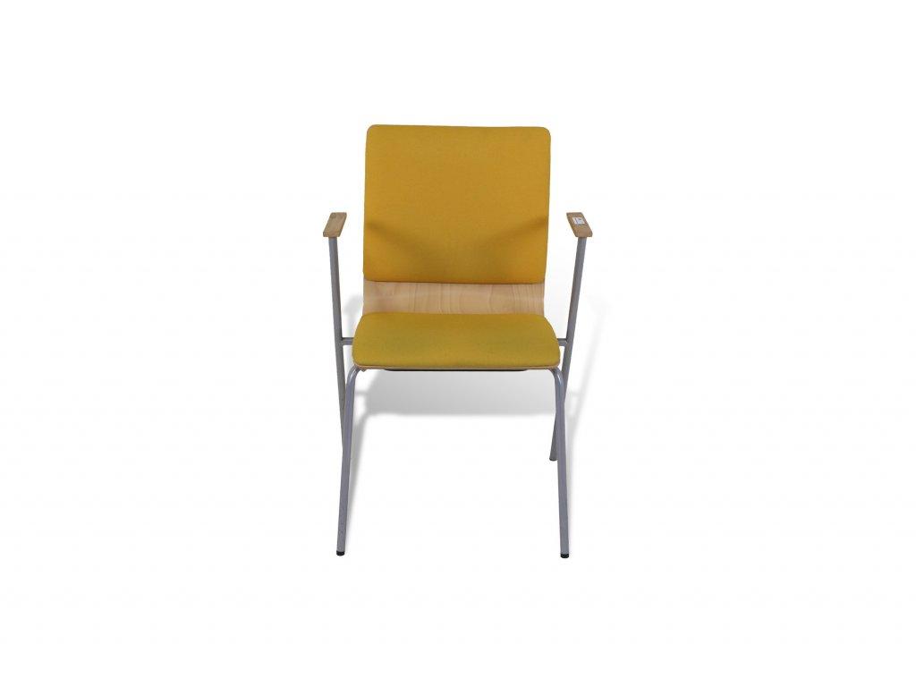 židle, Bene, dřevěná, žluté polstrování