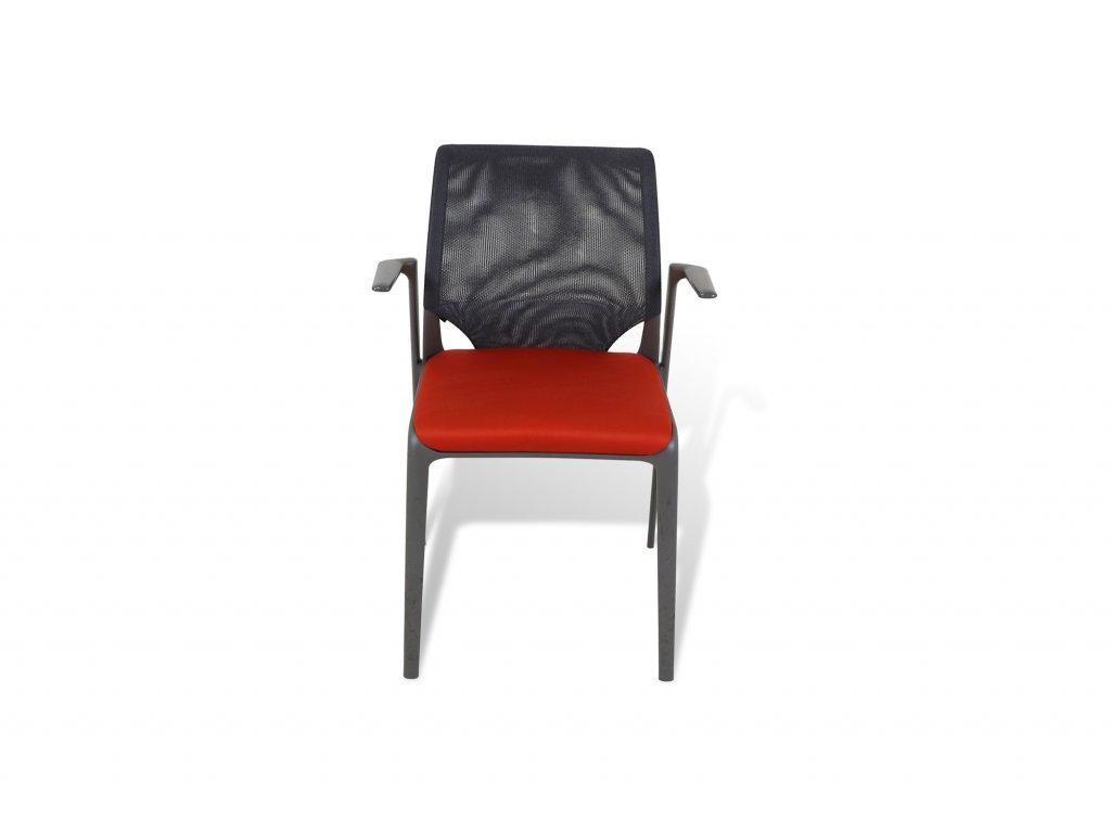Židle konferenční , VITRA , šedá/červená ,  sítovná záda , područky