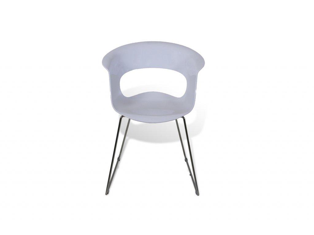Židle konferenční , bílá, nohy chrom