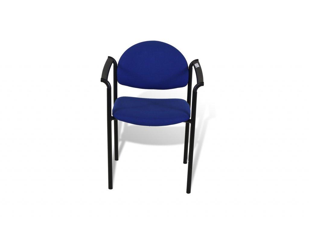 Židle konferenční , ALBA , modrá , černé područky