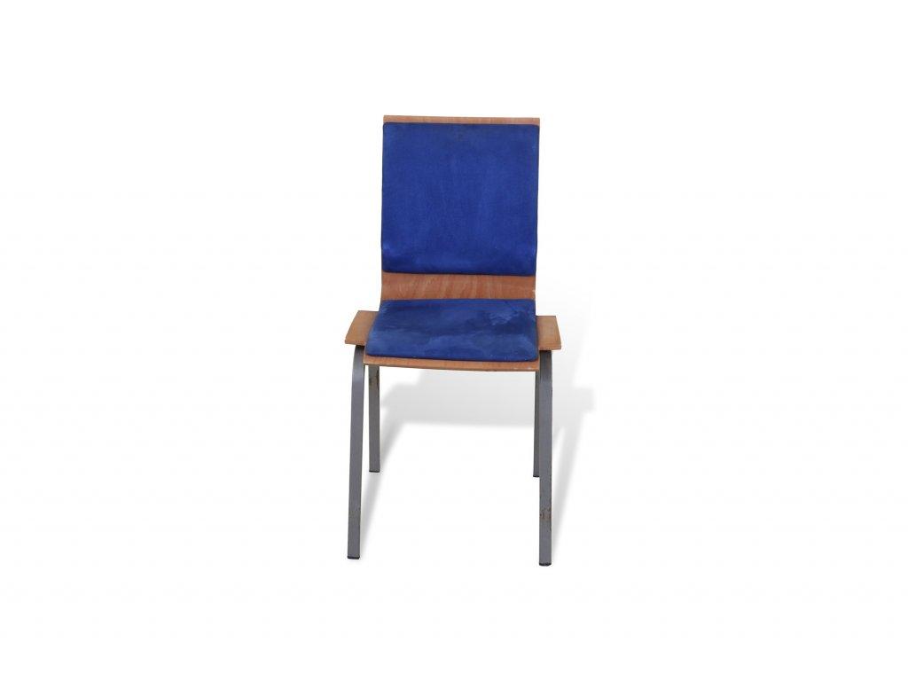 Židle konferenční , modrá , dřevěná, modrý podsedák + záda
