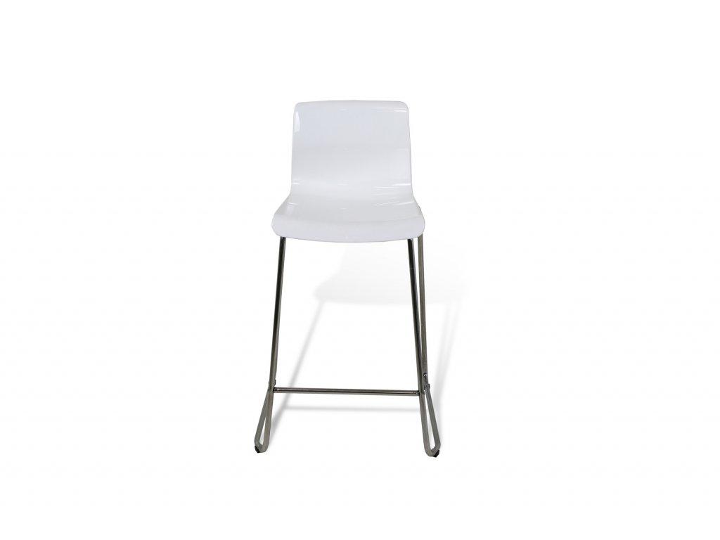 Židle barová , bílá , tvrzený plast, nohy chrom