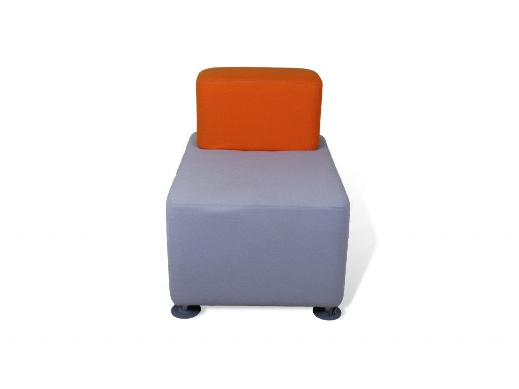 Křeslo , Steelcase , 85x85, šedá , oranžový opěrák