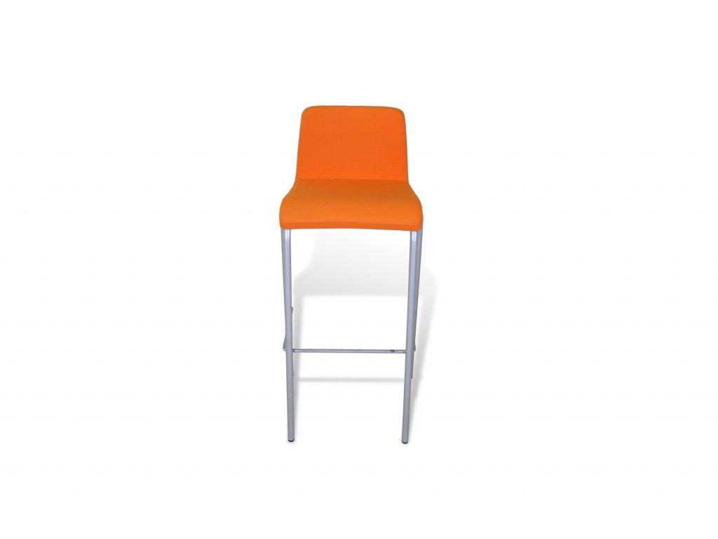 Židle barová, Steelcase, polstrovaná, oranžová/šedý rám