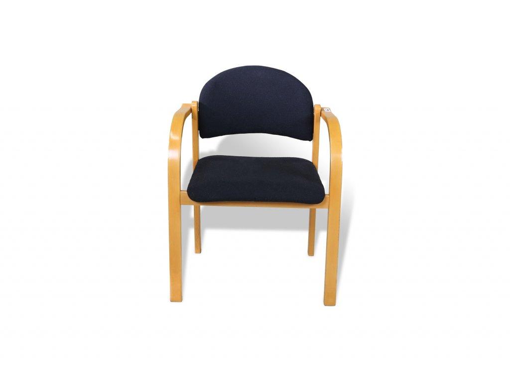 Židle konferenční, CCS, černá, sv. dřevo