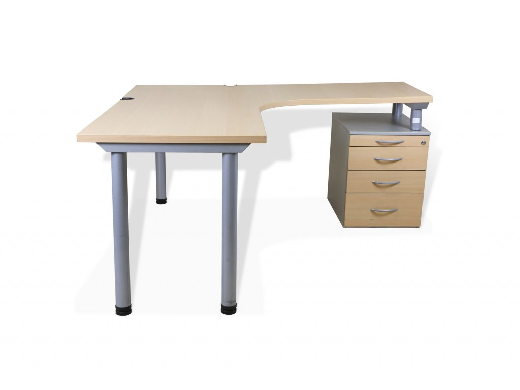 Stůl rohový, pravý, kontejner, buk/šedá